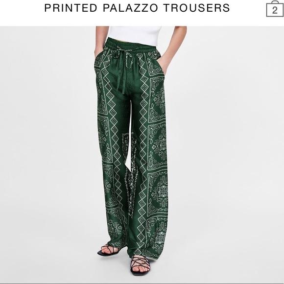 72d4bda7 Zara Pants | Printed Palazzo Size Xl | Poshmark